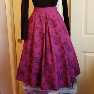 EUC- Purple Wildflower circle skirt-M- Bettie Page